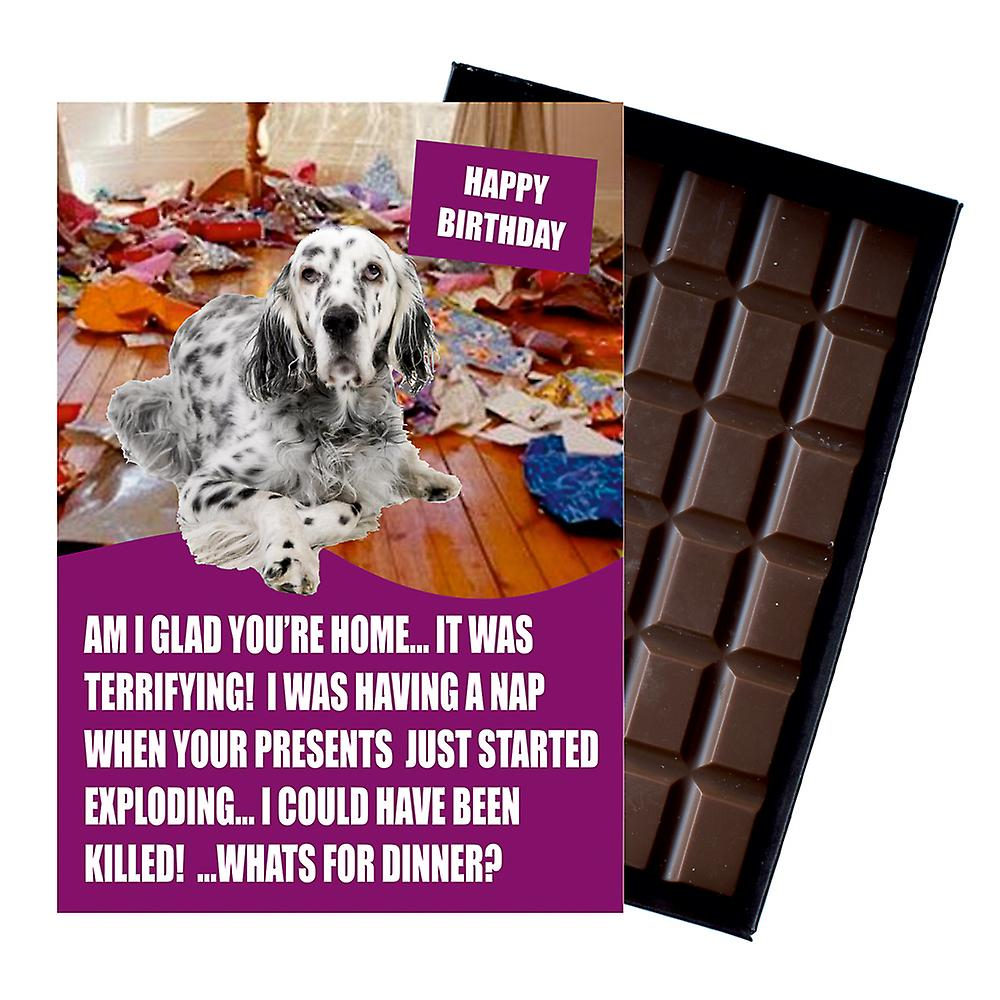 English Setter Funny Birthday Gifts For Dog Lover Boxed Chocolate Greeting Card Present