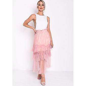 Layered Frill Trim tyll MIDI kjol rosa
