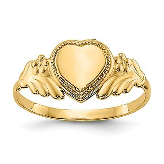 14k Yellow Gold Engravable Polished Love Heart Baby Ring Size 3.00 - .7 Grams