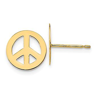 14k Yellow Gold Polished Peace Sign Post Earrings Jewelry Gifts for Women - .4 Grams