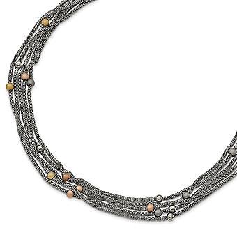 Halskette Edelstahl rosa und gelbe Ip vergoldet Stahlnetz - 20,5 Zoll