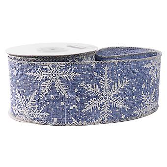 9m Blanc 63mm Wide Snowflake Wide Printed Denim Style Fabric Ribbon for Crafts