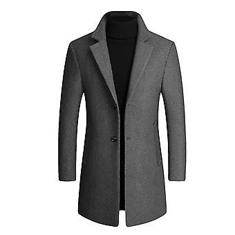 Allthemen Men's Slim Fit Revers solid Herbst Wolle Mantel