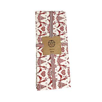 Dexam Yuletide Table Runner, Red on Cream