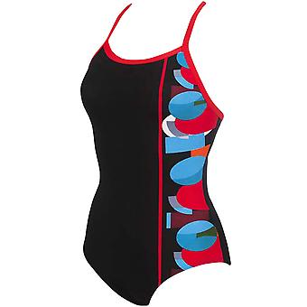 arena Womens Asym One Piece Training Pool Swimming Swimsuit Costume - Black