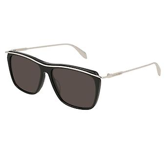 Alexander McQueen  Sunglasses Am0143s 003 56 Edge Black And Silver Square Sunglasses