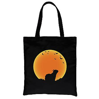 Moon French Bulldog Halloween Traje Funny Canvas Shoulder Bag