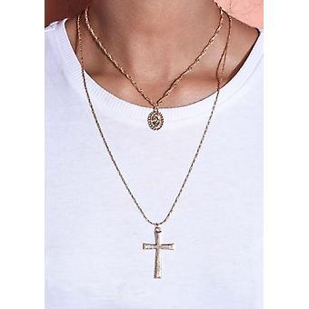 Lagdelt Cross Chain anheng halskjede gull