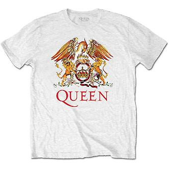 Drottning White Crest Freddie Mercury Brian May officiell T-shirt