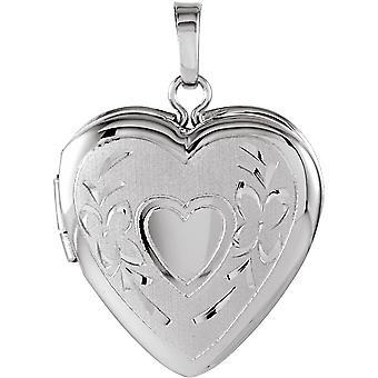 925 Sterling Silber 22,25x16mm poliert Liebe Herz geformt Foto Medaillon Anhänger Halskette Schmuck Geschenke für Frauen