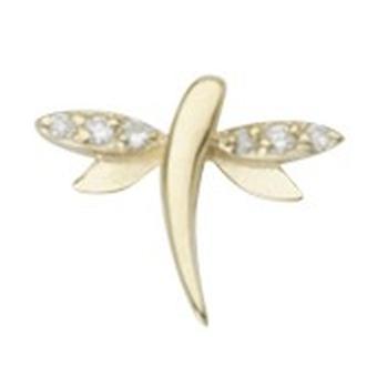 925 Sterling Silver 14k Guldpläterad single mate CZ Cubic Zirconia Simulerad Diamond Dragonfly Stud Örhängen Smycken Gift