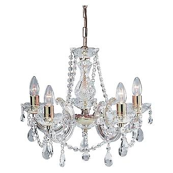 THLC Marie Therese Classic 5 Light Ceiling Chandelier In Polished Brass Finish 699-5