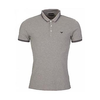 Emporio Armani Light Grey Stretch Short Sleeve Polo T-Shirt 8N1F2B 1JPTZ