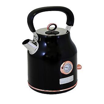 Charles Bentley 1.7L Stainless Steel Kettle Black & Rose Gold Fast Boil 360 degree swivel base