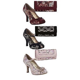 روبي شو المرأة & s كليو عالية الكعب ماري جين أحذية ومطابقة تشارلستون حقيبة
