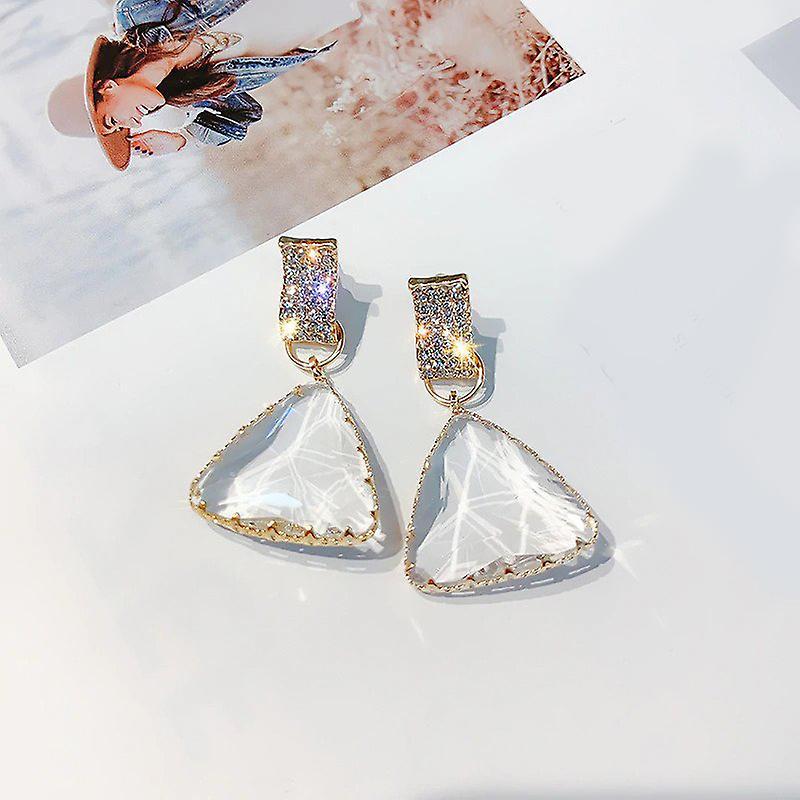 Drop Earrings in Large Crystal - Gold