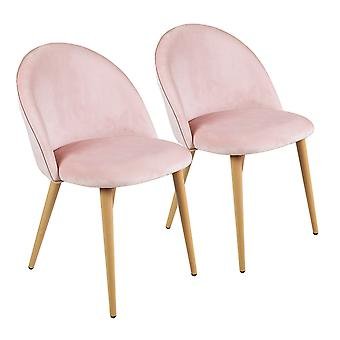 Charles Bentley Pair of Soft Velvet Kitchen/Lounge Dining Chairs with Beech Wood Effect Legs Pink H80xW54xD56
