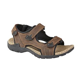 Roamers Brown Leather 3 Touch Fastening Sandal Nylex Lining Supersoft Phylon Sock Pu Sole