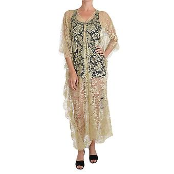 Dolce & Gabbana Gold Floral Lace Crystal Gown Cape Dress