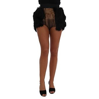 Dolce & Gabbana Musta Mink Nutria Fur Mini Hot Pants