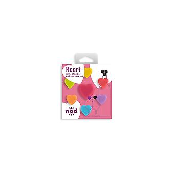 NOD Products 'Heart' Shaped Glass Markers & Stopper Set