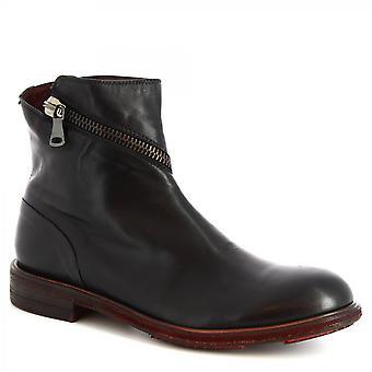 Zapatos Leonardo Hombres's botines hechos a mano piel de becerro negro con cierre de cremallera