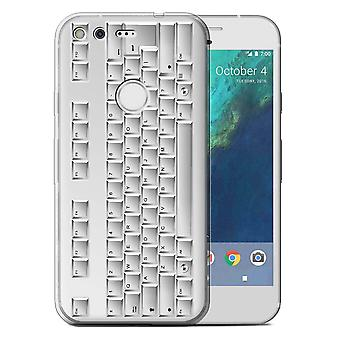 STUFF4 Gel TPU Case/Cover for Google Pixel (5.0'')/PC Keyboard/White/Keys/Buttons