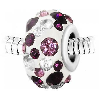Charm pav de perla blanca de cristales púrpuras y blancos y acero de SC Crystal BEA0113