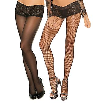 Womens Lycra Fence Net and Sheer Back Seam Pantyhose Attached Panty Tights- 2 Pack