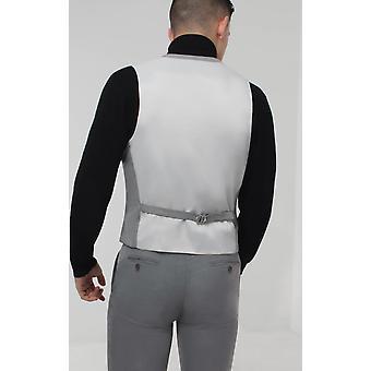Avail London Mens Light Grey Waistcoat Skinny Fit Seersucker Double Breasted