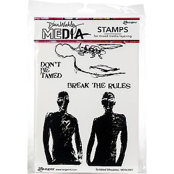 Dina Wakley Media Cling Stamps 6-quot;X9-quot; - Scribbled Silhouettes