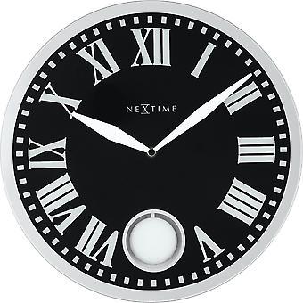 NeXtime - Wanduhr – 43 x 4,2 cm - Glas - Schwarz - 'Romana'