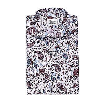 Stenstroms Fitted Long Sleeved Shirt Burgundy Paisley