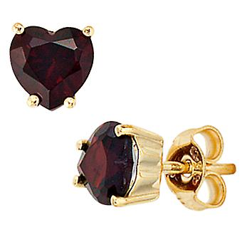 Studs hjerte hjerter 333 guld gul guld 2 granat røde øreringe granat stud øreringe