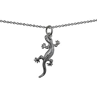 Silver 26x13mm Lizard Pendant with a rolo Chain 24 inches
