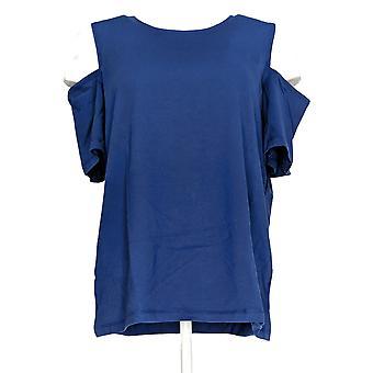 Denim & Co. Women's Cold Shoulder Round Neck Knit Top Blue A304434