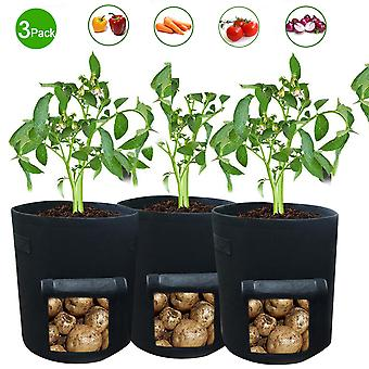 Vegetable planting bags, 3 small breathable garden planting bags, visible household flower pots with handles