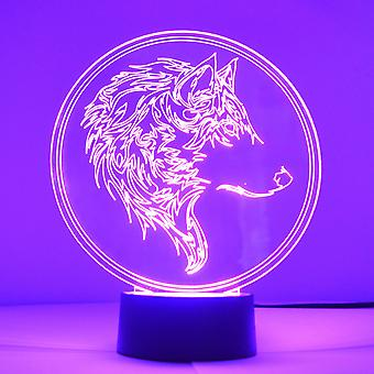 Wolf Head Stencil Colour Changing LED Mini Acrylic Light