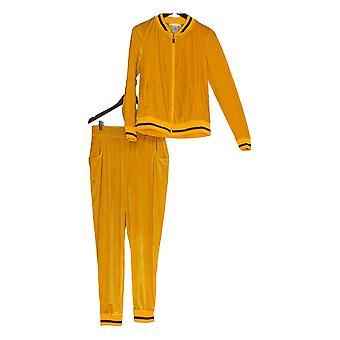 K Jordan Set Velvet Zip Front Jacket & Pants Golden Yellow