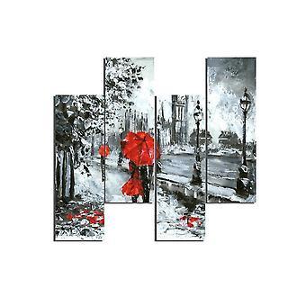 Schilderij Londen 229 Multicolor in MDF, L19xP0.3xA50 cm (4 stuks)