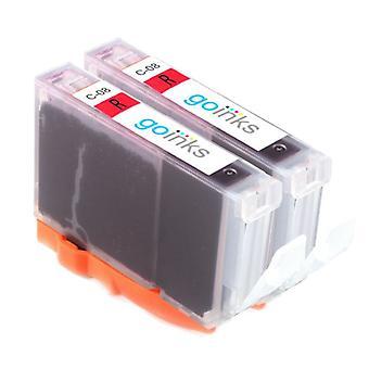 2 punainen yhteensopiva Canon CLI-8R tulostimen mustekasetit