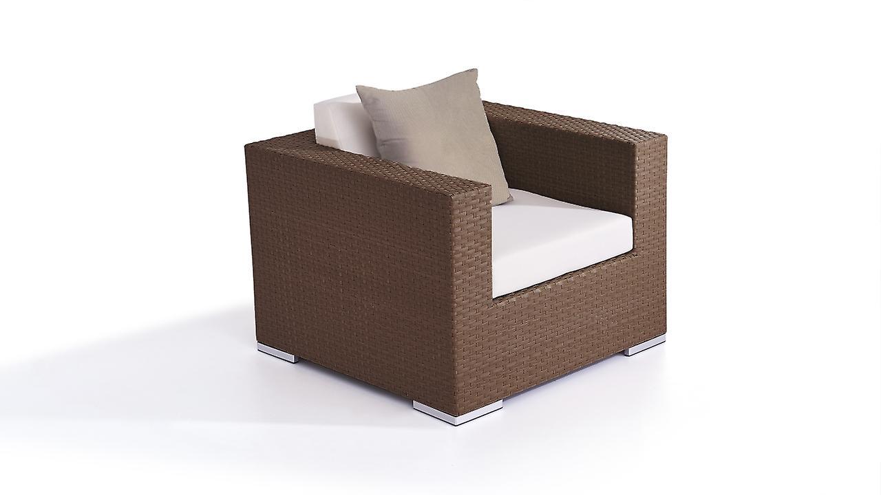 Polyrattan Cube Fauteuil - brun