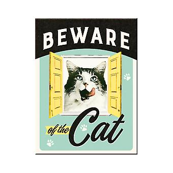 Beware of the Cat Nostalgic Metal Magnet - Cracker Filler Gift
