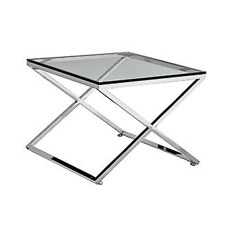 Premier housewares end table w / rozsdamentes acél keret és átlátszó edzett üveg