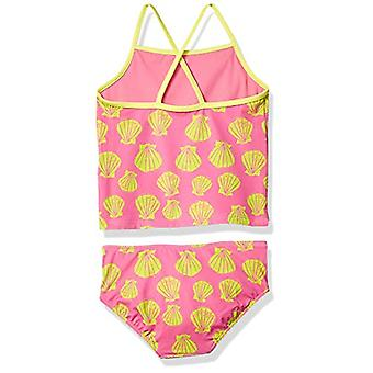 Spotted Zebra Toddler Girls' Tankini Swimsuit, Pink Shells, 4T