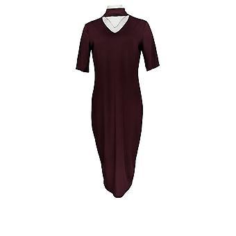 G.I.L.I. got it love it Dress Knit Elbow Length Sleeve Dark Purple A310070