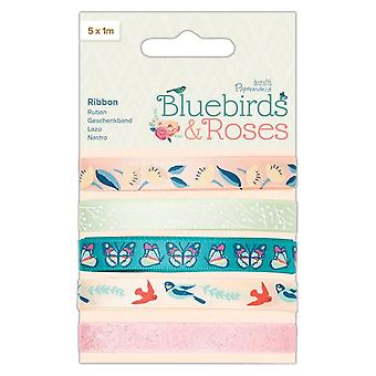 Papermania Bluebirds & Roses Printed Ribbon