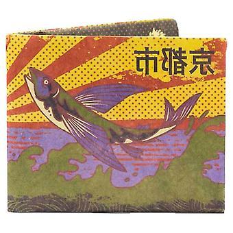 Papírová peněženka Ikonická Kjóta Štíhlá RFID peněženka - žlutá / fialová / zelená