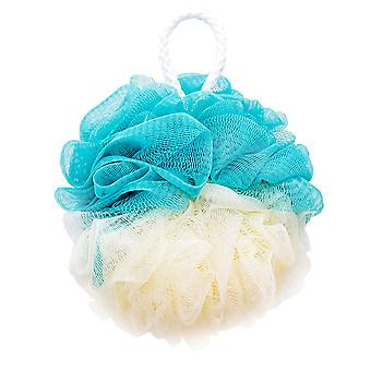 Nylon Color Matching Bath Flower Ball Beige and Navy 13.5cm