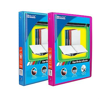 Combo34, BAZIC 1/2 Inch 3-Ring View Binder with 2-Pockets (Case pack of 24 consist 12-Cyan & 12-Fuschia)